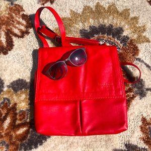 Vera Pelle Red Italian Soft Leather Crossbody Bag